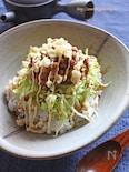 キャベツと天かすのジャンクなネバネバ納豆丼