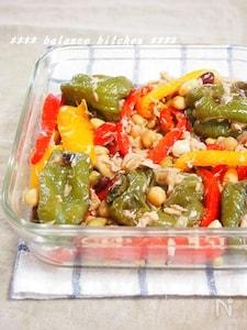 【常備菜】美肌に!丸ごとピーマンと豆のツナマリネサラダ