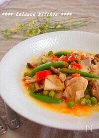 『簡単!鶏肉とグリーンピースの軽い煮込み』