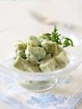空豆とモッツァレラチーズのジェノバ風