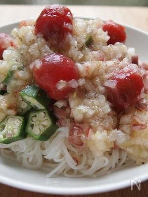 トマトとオクラのマリネ風麺
