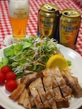 ビールが美味しくなる3元豚の三段バラ肉の塩レモン焼き