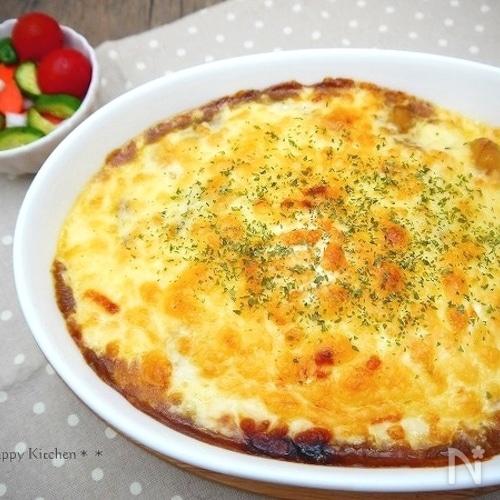 レンジで簡単ホワイトソースの卵乗せ焼きカレー【リメイク】