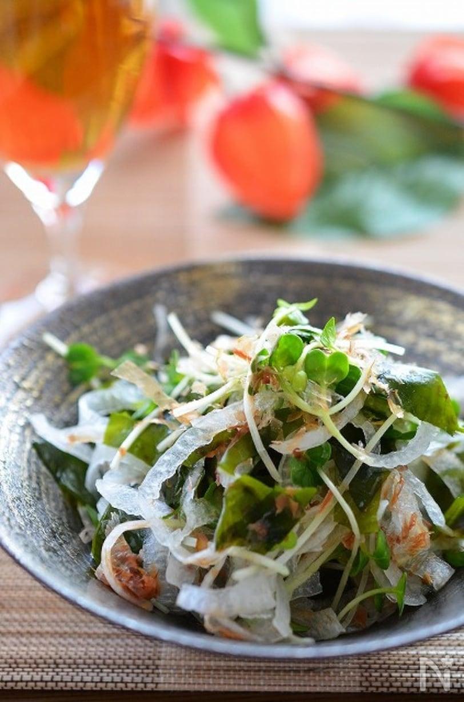 和風の食器に盛られた玉ねぎとワカメのサラダ