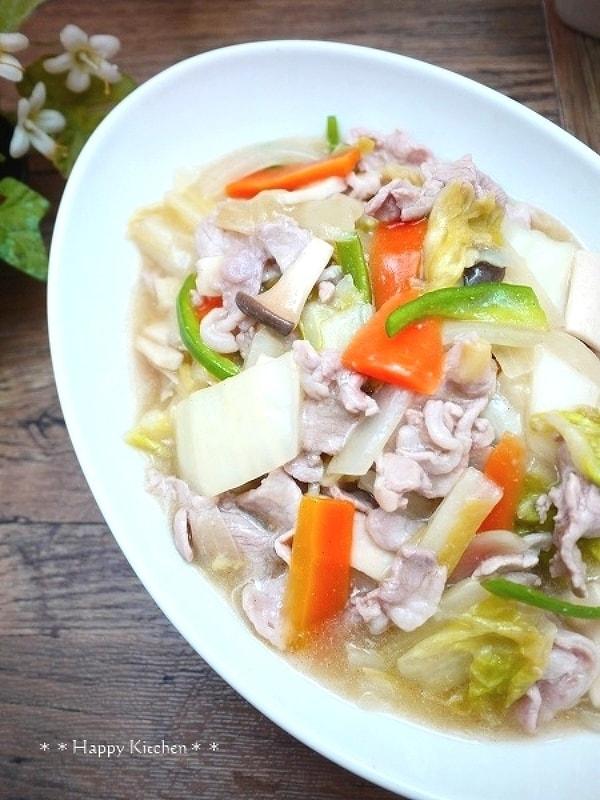 白菜と豚肉で八宝菜風の塩炒め