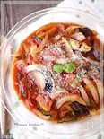 レンジで簡単!カボチャ入り和風味噌トマト煮込み