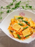 【常備菜】つるりん新食感。高野豆腐と野菜の麺つゆびたし