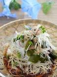 冷凍そば使用◆アマニ油で健康!玉葱と若布のぶっかけ蕎麦