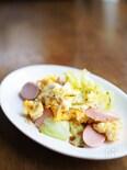 キャベツと卵とお魚ソーセージ炒め