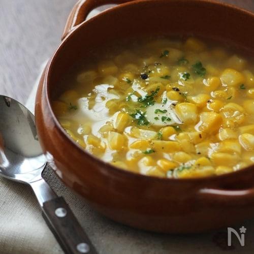食べる!コーンスープ。