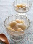 ライチと桃のタピオカミルク