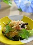 桜海老と玉葱のアマニオイル健康ドレッシングサラダ