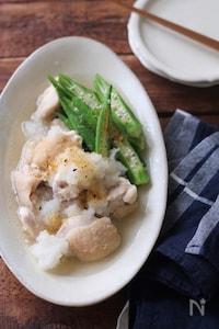 鶏とオクラの白だしおろしさっと煮。