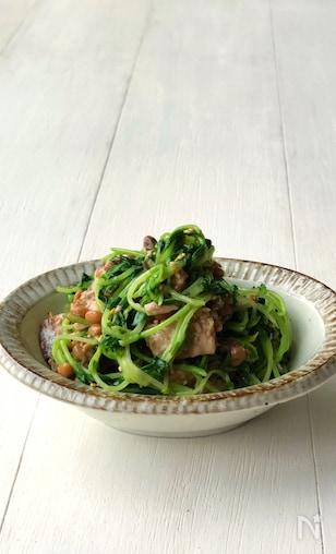 キッチンバサミだけで作れます!豆苗の鯖缶納豆サラダ