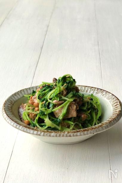 陶器皿に高く盛り付けられた豆苗の鯖缶納豆サラダ