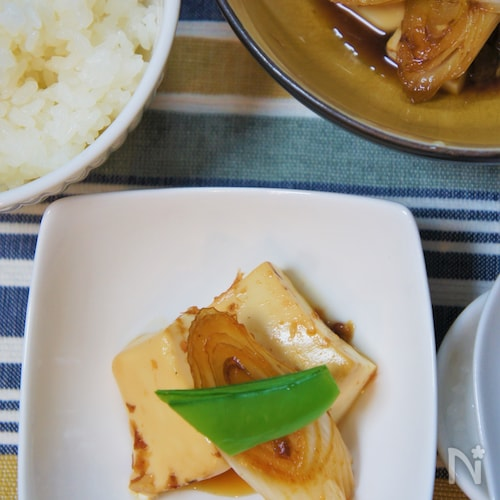 長ネギと豆腐の、おかかでサッと甘煮