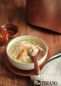 『鶏ごぼうのワンタンみそスープ』