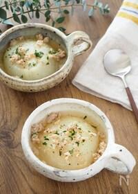 『【余ったひき肉を活用】短時間でとろとろ♪新玉ねぎのスープ』