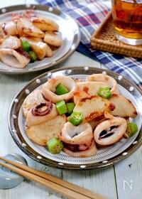 『ご飯に合う!『イカと長芋とおくらのバター醤油炒め』』