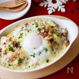 『半熟卵のせ!根菜ときのこのミートソースドリア』#クリスマス