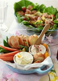『クリームチーズの簡単ディップ2種(生ハム、オレンジ)』