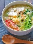 茹で鶏の茹で汁で*とま玉春雨スープ*