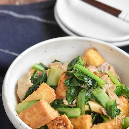 厚揚げと小松菜の豚バラ中華風炒め