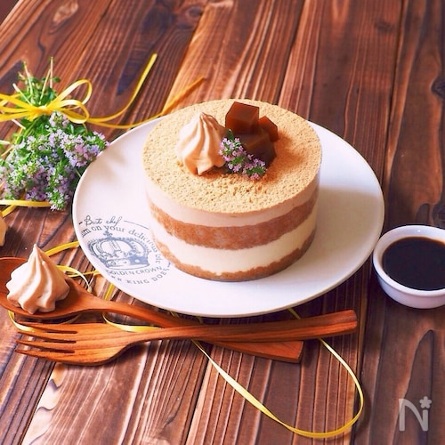ほうじ茶で、和風ティラミス〜クリアファイルでホームケーキ