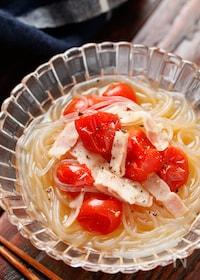『トマトと春雨のつるりんスープサラダ【#作り置き#レンジ】』