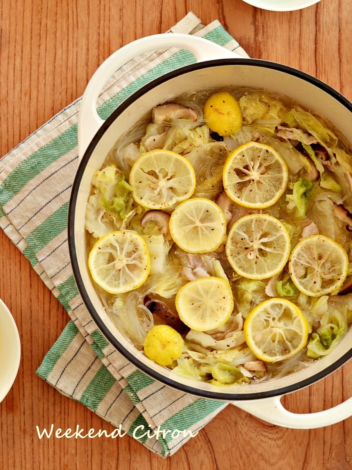 ゆず風味の「豚肉と白菜のごま油鍋」