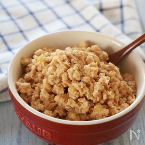 【作り置きに】豆腐と鶏ひき肉の甘辛肉味噌