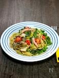 緑たっぷりの「高山真菜と菜花、水菜のオイルパスタ」