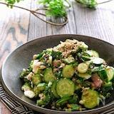 きゅうりとオクラとツナと香味野菜のさっぱり塩昆布和え