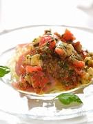 冷凍麺で生ハムの冷製塩れもんパスタ、カプレーゼソース