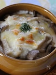 キノコと鶏肉のグラタン、豆腐ソース