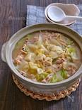にんにくと生姜の効いた豚こまキャベツの豚汁風鍋