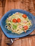 酸味が美味しい「ミニトマトと水菜のペペロンチーノ」