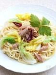 白菜とツナの白だしペペロンチーノ