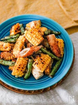 ちくわと夏野菜のしょうゆマヨソテー