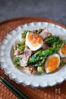 和洋中万能に合う!菜の花とベーコンとゆで卵のごまおかかサラダ