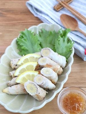 お弁当やおつまみに♪ヤングコーンの豚巻きうま塩レモン炒め