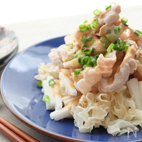 〈くらし薬膳〉長芋と白きくらげの豚しゃぶゴマポン酢
