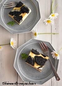 『オーブン不要!レンジ加熱4分でOK!オレオチーズケーキ』