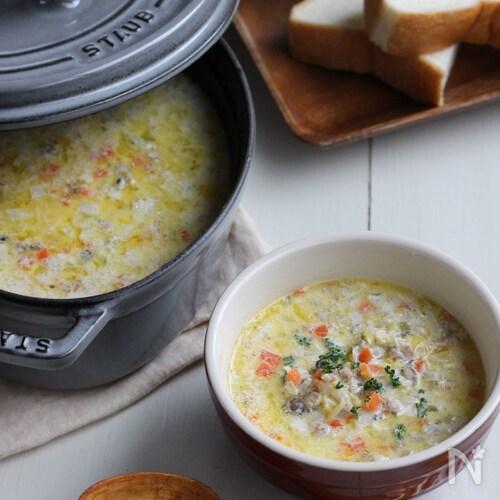 仕上げは5分で満点朝食♪味噌と豆乳の具沢山な和風ポタージュ