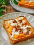 朝食に!*柿とカッテージチーズのハニートースト*