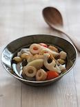 根菜と大豆とちくわの簡単煮物。