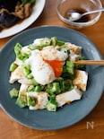 『豆腐とオクラの和風サラダ 温玉わさび醤油』#簡単#時短