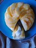桃とマシュマロのレアチーズケーキ