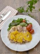 レンジで作る鶏肉のオレンジマスタードソース煮