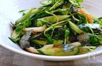 ちくわときゅうりと豆苗のごま海苔サラダ